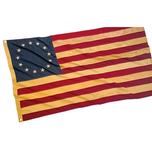 REVOLUTIONARY WAR STYLE ANTIQUED 13 STAR FLAG