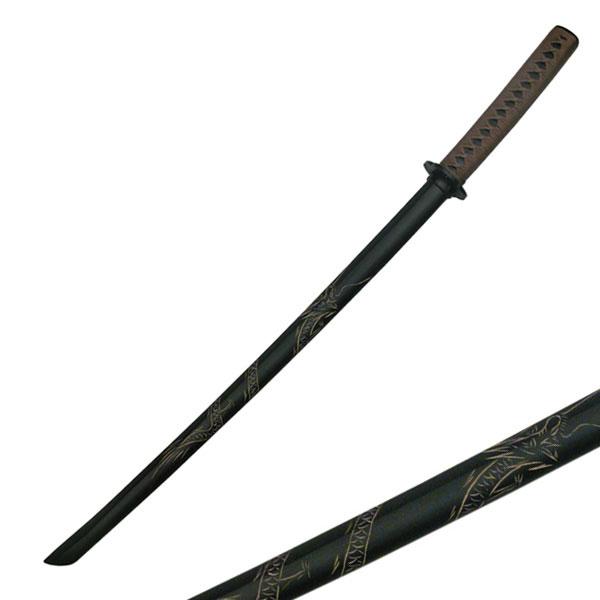 Set of 2 40/'/' Black Bokken Daito Wooden Practice Katana Sword Carved Dragon