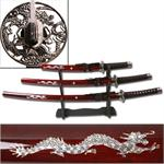 Burgandy Silver Dragon Sword