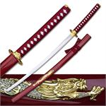 Red & Gold Dragon Samurai Sword