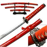 Red Carved Dragon Samurai Sword Set