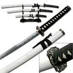 White Carved Dragon Samurai Sword Set